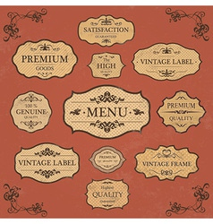 Vintage label style frame collection vector