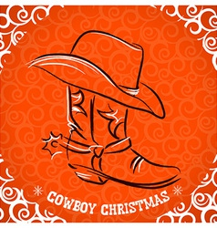 Western new year with cowboy boot and western hat vector