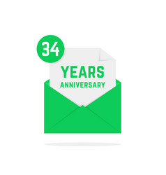 34 years anniversary icon in green open letter vector image