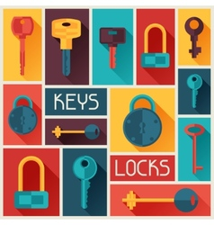 Background design with locks and keys icons vector