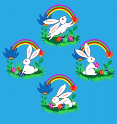 Easter bunnies with eggs flow vector