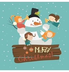 Big snowman with cute angels vector image