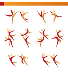 Abstract human logo template set vector