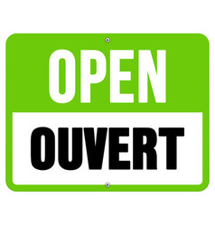 Ouvert sign in black and green vector