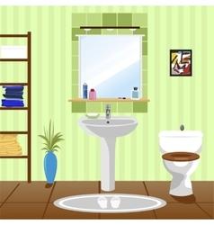 Green bathroom with sink bathtub toilet vector