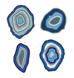 Blue agate crystal set on white geode vector