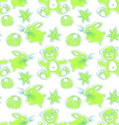 Bunny and bear seamless pattern vector