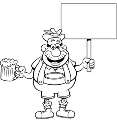 Cartoon man holding a beer and a sign vector