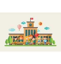 Children and the school - flat design characters vector