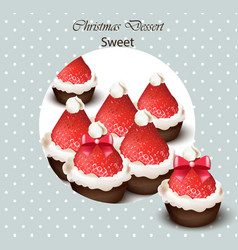 christmas cupcakes with strawberries vector image vector image