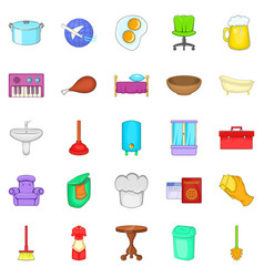 community icons set cartoon style vector image