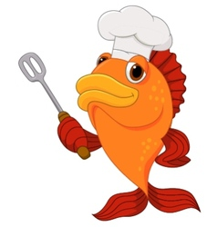 Cute fish chef cartoon holding spatula vector