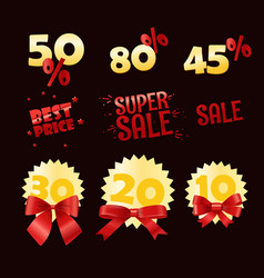 Different shopping discount labels sale tags vector