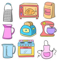 Doodle of equipment kitchen set vector