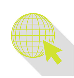 Earth globe with cursor pear icon with flat style vector