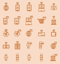 Fintech line color icons on orange background vector