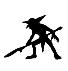 Goblin silhouette monster villain fantasy vector