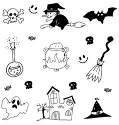 Halloween set in doodle stock vector