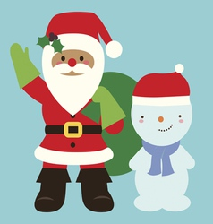 Holiday with Seanta and snowman vector image vector image