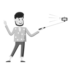 Man holding selfie stick icon vector