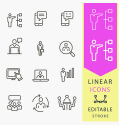 Management consulting - line icon set vector