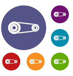 Mechanic belt icons set vector
