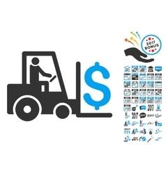 Money warehouse icon with 2017 year bonus symbols vector