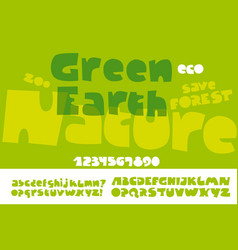 Natural eco style green text for print and web vector