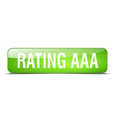 Rating aaa green square 3d realistic isolated web vector