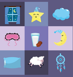 Set sleeping thing with good dreams at night vector