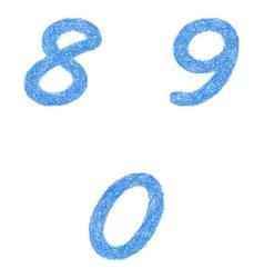 Sketch font set - numbers 8 9 0 vector