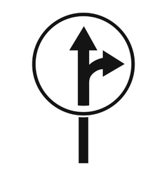 Straight or right turn ahead road sign icon vector image vector image