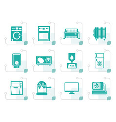 stylized home electronics and equipment icons vector image vector image