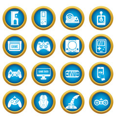 video game icons blue circle set vector image