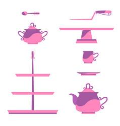 vintage tea service vector image vector image