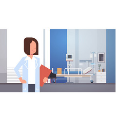 woman medical doctor clinics hospital interior vector image