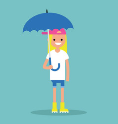 young smiling girl with umbrella wearing yellow vector image vector image