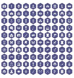 100 museum icons hexagon purple vector