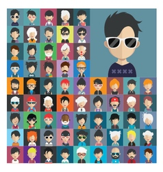 Set of people icons in flat style with faces 18 a vector
