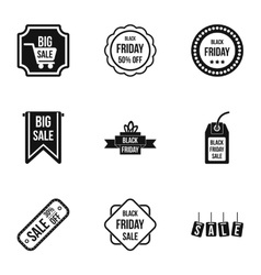 Large discounts icons set simple style vector