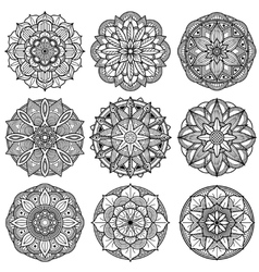 Indian meditation mandala patterns set vector