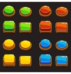 Colors wooden push buttons for a game vector