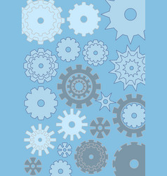 Cogwheels on blue background techno design gears vector