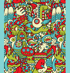 Seamless hipster doodle monster collage pattern vector
