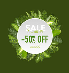 Summer sale tropical palm leaves banner vector