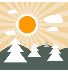 Flat design nature landscape with sun hills and tr vector