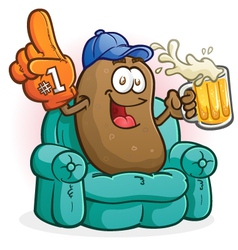 Couch potato sports fan cartoon character vector