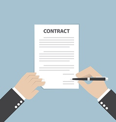 Businessman hand holding pen and signing business vector