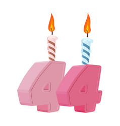 44 years birthday number with festive candle for vector