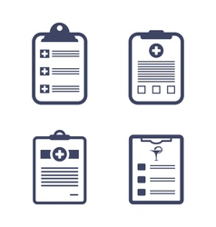 Set medical records clipboard vector